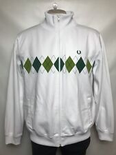 Fred Perry Sportswear Men's Zip Up Sweater XL White Green Argyle Athletic Track