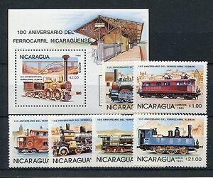 Nicaragua 2579/84 Block 165 postfrisch / Eisenbahn .......................1/3710