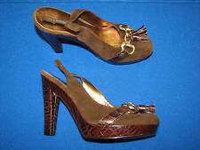 7 M Nine West Elsa Brown Leather Suede Ladies Gold High Heel Womens Shoes Tassel