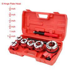 U.S. Solid Ratchet Pipe Threader Kit Pipe Die Tool Set w/ 6 Hinge Plate Head