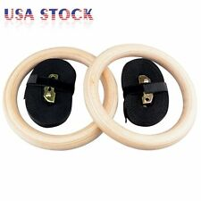 Pair Wood Gymnastic Gym Rings Olympic w/ Adjustable Straps Strength Training