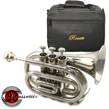 Rossetti 1146A Nickel Key of Bb Pocket Trumpet with Case + Mouthpiece