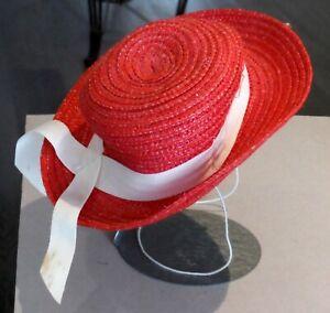 """Vintage Red Doll Hat 10"""" around inside P1397"""