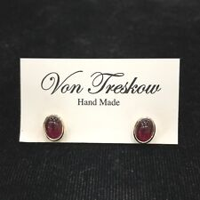 Von Treskow Garnet Oval Stud Earrings Sterling Silver 925 Red