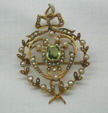 Peridot 9 Carat Brooch/Pin Art Nouveau Fine Jewellery