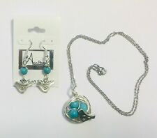 Turquoise Birds Nest Necklace & Earring Set Mothers Necklace FREE SHIPPING