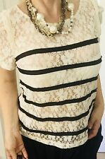 TOKITO WOMENS TOP BLOUSE FLORAL IVORY BLACK BUTTONS SZ 16