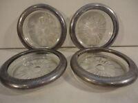 Vintage Set of (4) Leonard Silver Plated Crystal Glass Coaster Ashtrays (Italy)