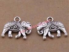 P1610B 20pc Retro Tibetan Silver elephant Charm Beads Pendant Jewellery Making