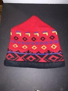Obermeyer Mens Beanie Ski Hat Red 100% Wool Outer 100% Acrylic Inner BANFF