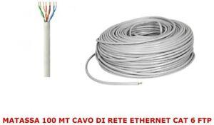 MATASSA 100 MT METRI CAVO DI RETE FTP CAT 6 LAN ETHERNET M BOBINA INTERNET ADSL