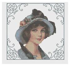 femme en bleu bonnet point de croix kit par florashell