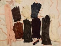 Lot of 10 Pair Ladies Vintage Gloves Long Short Leather Fancy Dress Casual