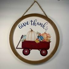 Give Thanks Little Red Wagon Pumpkins Apples Fall Round Wood Wall Decor Sign