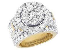 10K Yellow Gold Real Diamond Cluster Halo Engagement Wedding Ring 4 1/4 Ct 17MM