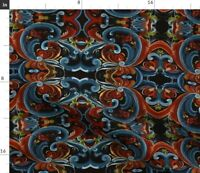 Rosemaling Scandinavian Heritage Traditional Fabric Printed by Spoonflower BTY