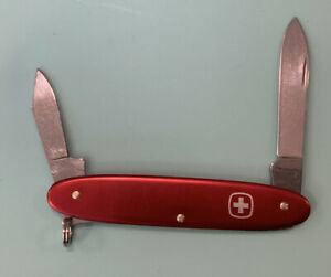 Vintage WENGER Delemont Swiss Army 2 Blade Patriot Red Pocket Knife