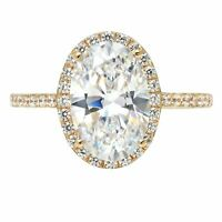 3.48 ct Oval Cut Halo Moissanite Promise Bridal Wedding Ring 14k Yellow Gold