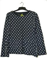 NEW EX WHITE STUFF UK SIZE 6 DARK NAVY BLUE SPOTTED JUMPER TOP
