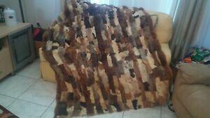 """Vtg Lined Patchwork Fur Sheepskin Throw, Blanket, Rug 75"""" x 55"""""""