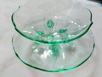 Lancaster Depression Glass Footed Bowl And Matching Plate Green