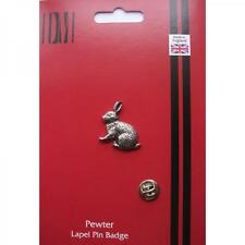 Silver Rabbit Pewter Lapel Pin Badge Handmade In England Rabbits Hare Badges New
