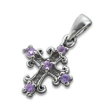 925 Sterling Silver Cross Genuine Amethyst Pendant Charm 10x11 mm Girls Women