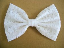 NEW FABRIC HAIR BOW W/ Alligator Clip * White Lace * Handmade * FREE SHIPPING *