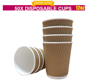 50 X 12oz DISPOSABLE PAPER RIPPLE BROWN CUPS (PARTY, COFFEE,TEA, SHOP TAKEAWAY)