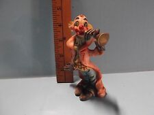 """Old Hand Painted Resin Clown 5""""in Big Hands Playing Trumpet Stampted Italy"""