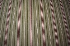 """Striped Green Burgundy 100% Flax Linen Fabric 55""""W Upholstery BTY Natural Fiber"""