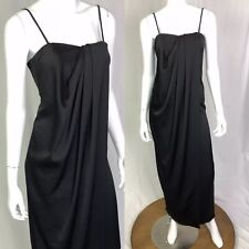 d1a7948f9cf4 French Connection Women's 0 Black Draped Gown Maxi Satin Long Shift Dress XS