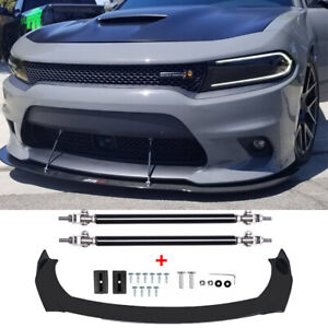 Front Bumper Lip Splitter Spoiler + Strut Rods For Dodge Charger SRT Challenger