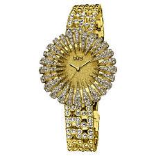 New Women's Burgi BUR054G Dazzling Crystal-Accented Gold-tone Bracelet Watch