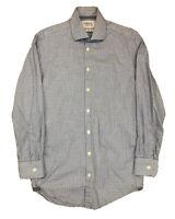Charles Tyrwhitt Extra Slim Fit Blue Houndstooth Long Sleeve 14.5 / 32