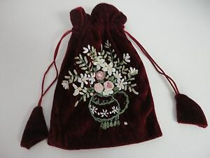 VELVET BAG WITH FLOWER DESIGN EMBROIDERY (DIFFERENT COLOR AND STYLES!!!!)*