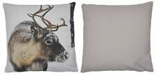 "HIGHLAND REINDEER STAG BROWN CREAM MADE IN THE UK CUSHION COVER 17"" - 43CM"