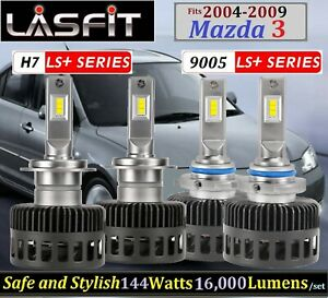 LASFIT LS+H7 & LS+9005 144W 16000LM LED Headlight Combo fits Mazda 3 2004-2009
