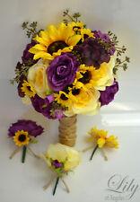 17 Piece Package Silk Flower Wedding Bridal Bouquet Sets YELLOW PLUM BURLAP RUST