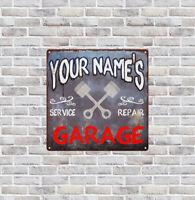 Your name Custom Garage Rust Man Cave Shop Gift Decor 12x12 Metal Sign SS129