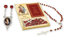 DIVINE MERCY JESUS GLASS ROSARY BEADS & 32 PAGE 'HOW TO PRAY THE ROSARY' BOOKLET