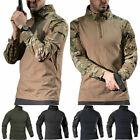 Herren Camouflage Combat Tactical Militär Langarm Hemd T-Shirt Bluse Tops S-4XL