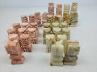 VINTAGE MARBLE STONE HAND CUT CHESS SET PINK GREEN (MISSING 1 PIECE)