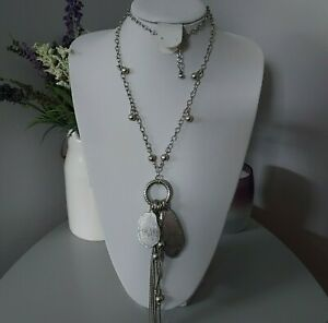 Retro Industrial Statement Ethnic Silver Tone Chain Cluster Tassel Bead Necklace