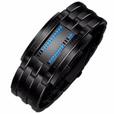 MAN WATCH FUTURISTIC BLUE LED STEEL STAINLESS STEEL BLACK