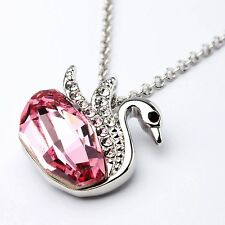 Genuine Austrian Pink Crystal 18Ct White Gold Plated Swan Chain Necklace Pendant