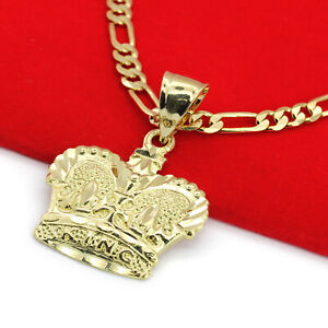 """Mens 18k Gold Plated King Crown Royalty Pendant 5mm 18"""" Figaro Necklace Chain"""
