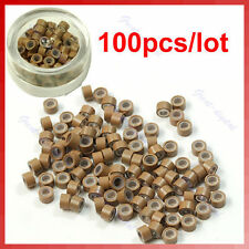 100 pcs Silicone Micro Ring Feather Hair Extensions Crimp Beads khaki