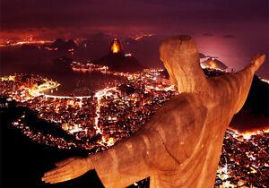 QUADRO MODERNO Rio de Janeiro  Brasile tramonto stampa già con telaio