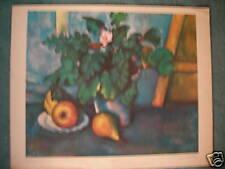 """Vintage CEZANNE """"Pot de fleurs et poires"""" Art Print 1960"""